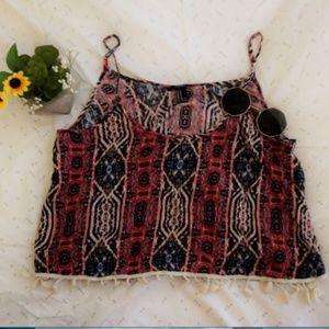 tassel tribal printed top forever 21 size medium